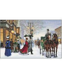 """Fur tippet and collar turned to ward off winter's chill, a Belle Epoque couple hurry to their waiting carriage. What evening awaits--Maxime's, the opera, perhaps the Moulin Rouge? Dream of the possibilities as you stitch this glowing depiction of another era on 16 count dove grey Aida.<br><br>Kit contains cotton embroidery thread, 16 count dove grey Aida fabric, thread palette, needle and easy instructions including and easy-to-read multicolor chart.  An embroidery hoop or 20"""" x 14"""" (51 x…"""
