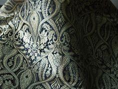 Silk Brocade Fabric Black and Gold Floral Pattern Weaving  - Indian Silk, Wedding Dress Fabric - Banarasi Silk Fabric by the Yard by Indianlacesandfabric on Etsy https://www.etsy.com/listing/241195919/silk-brocade-fabric-black-and-gold