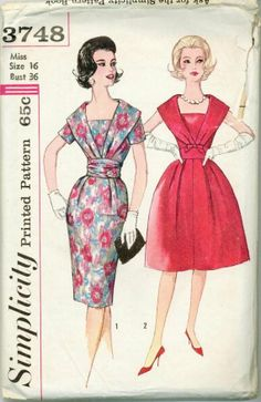 vintage Simplicity dress pattern 3748   1961 Simplicity 3748 Retro Dress Sewing Pattern Vintage Size 16 ...