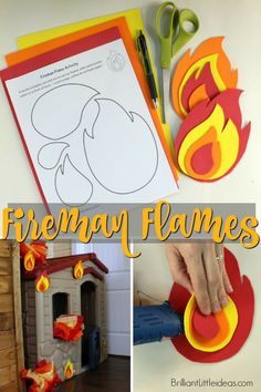 Awesome way to make your kids Fireman roleplay come alive! These easy foam fire flames can stick to anything using 2 sided tape! Fireman Birthday Theme
