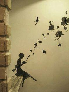 Fairytale painting on wall - sticker - wallsticker
