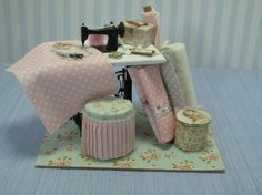 Gaël Miniature shabby chic sewing Furniture - Handmade Fabric plus sewing machine accessories 1:12 Dollhouse Miniature