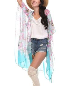 Another great find on #zulily! Light Blue & Pink Sheer Floral Kimono #zulilyfinds