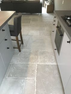 Kitchen Flooring, Home And Living, Stone Flooring, Interior Architecture Design, House, French Country Kitchens, Rustic Flooring, House Interior, Farmhouse Interior
