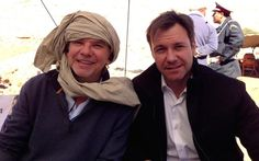 On set of Transporter Series in Morocco with Chris Vance and Frank Spotnitz