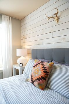 """Whitewash wood wall (Figure out some way to possibly make it """"temporary"""" so as not to ruin the drywall behind? Something to look into doing in the rental for the giant unadorned bedroom wall?)"""