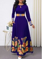 Women'S Royal Blue Floral Print Long Sleeve Maxi Cocktail Party Dress High Waisted Elegant A Line Dress By Rosewe Flower Print Keyhole Neckline Maxi Long African Dresses, Latest African Fashion Dresses, African Print Fashion, Women's Fashion Dresses, Sexy Dresses, Fashion Clothes, Casual Dresses, 1950s Dresses, Long Dresses