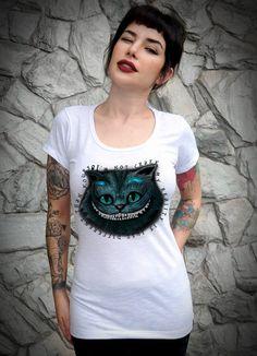 Camiseta Feminina Gato Alice - USECAPSULA