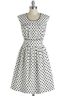 No Dot about It Dress. Theres no doubt that a fashionista like you can take a versatile piece from your closet, like this polka-dotted dress, and make it your own every time!  #modcloth