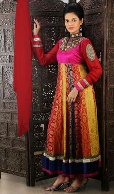 Multicolor Georgette Long Anarkali Suit Price: Usa Dollar $189, British UK Pound £111, Euro138, Canada CA$ 202, Indian Rs10206.