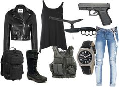 """Mirror mirror on the wall, who's the baddest bitch of them all? """"zombie apocolypse survival set"""" by imaginarykite on Polyvore"""