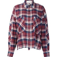 Faith Connexion Oversized Flannel Shirt ($481) ❤ liked on Polyvore featuring tops, red, flannel shirts, oversized shirt, over sized shirts, oversized flannel shirt and oversized tops