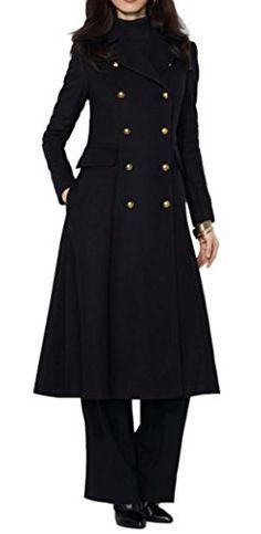 Pandapang Girls Plaid Double Breasted Lapel Winter Fleece Woolen Long Jacket Coat
