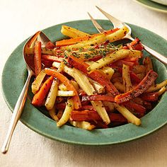 Cider-Roasted Carrots and Parsnips - These glazed root vegetables are the perfect mix of tangy and sweet.
