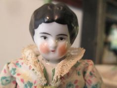 Antique German China Head Doll with Skirt by ParisPaintingsEtc