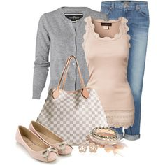 Pretty in pink and gray. Soft neutrals, along with gorgeous flats and omg...that BAG. Delicious.