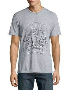 Hand-Painted Crown Graphic Tee, Gray, Women's, Size: XX-LARGE - Etro