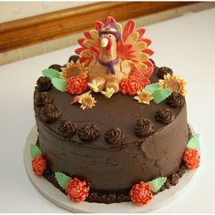 Chocolate Cake with Fondant Turkey