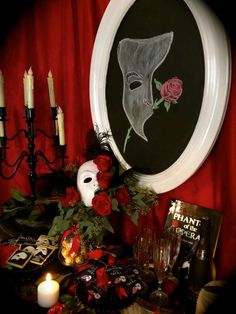 Phantom Of The Opera cocktail party decorations! See more party planning ideas at CatchMyParty.com!