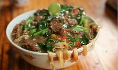 Shantou China. Stir fried Beef Noodles with Chinese broccoli awesome. [OC]