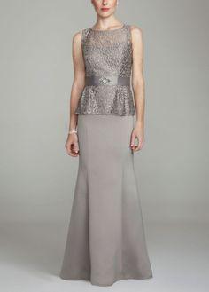Mother of the bride dress (option 1)  Sleeveless Lace Long Peplum Dress - David's Bridal - mobile  http://www.davidsbridal.com/Product_Sleeveless-Lace-Long-Peplum-Dress-2833DB_Bridal-Party-Mothers-Special-Guests-All-Dresses