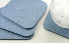 Square Felt Coasters 5mm Thick Blue Wool Fabric Drink