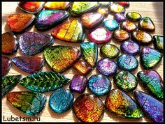 Alcohol inks over polymer clay, resin coated