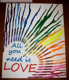 Melted Crayon Art  All you need is love by UncommonArtwork on Etsy