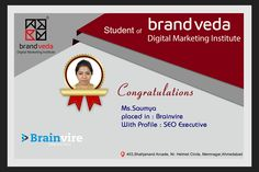 Congratulations to our student she is successfully placed in Brainvire. She had a dream to work as a SEO executive, Brandveda has given full assistance to her for achieving it. Keep Dreaming, keep moving.