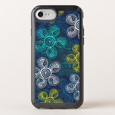 Turquoise Lime Green Retro Chic Floral Pattern Speck iPhone Case - cool gift idea unique present special diy