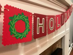 Happy Holidays Banner, Holiday Banner, Wreath Banner, Christmas Banner, Holiday Decoration by TwentyNineFoxes on Etsy https://www.etsy.com/listing/482240218/happy-holidays-banner-holiday-banner