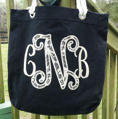 Custom Large Applique Monogram Canvas Bag  by sewgoddesscreations, $25.00
