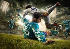 Soccer: grab the ball, go; get knocked down, go; running, passing, kicking, going. I love it.