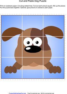 Cut and Paste Dog Puzzle http://www.kidscanhavefun.com/cut-paste-activities.htm #kidsactivities #puzzle