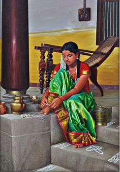 Teen - 6 - Teen: Classic Paintings of Tamilnadu WomenYou can find Indian paintings and more on our website.Teen - 6 - Teen: Classic Paintings of Tamilnadu Women Indian Women Painting, Indian Art Paintings, Classic Paintings, Indian Artist, Beautiful Paintings, Contemporary Paintings, Abstract Paintings, Oil Paintings, Abstract Oil