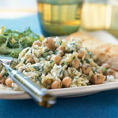 Orzo Salad with Chickpeas, Dill, and Lemon.  We tried this and it is simple to make and truly excellent.  Excellent side dish for grilled chicken or fish.  Mmmm.