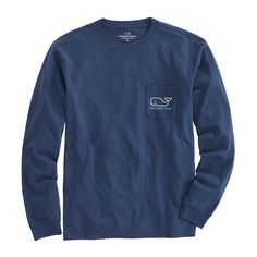 Shop Long-Sleeve Hanukkah Whale Pocket T-Shirt at vineyard vines ($48) ❤ liked on Polyvore featuring tops, t-shirts, cotton pocket t shirts, long sleeve cotton t shirts, long sleeve cotton tees, drapey tee and long sleeve tee