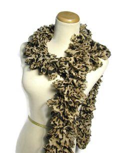 Tan Scarf Ruffle Scarf Knit Scarf Leopard Scarf by ArlenesBoutique $35.00 #rufflescarf #scarf