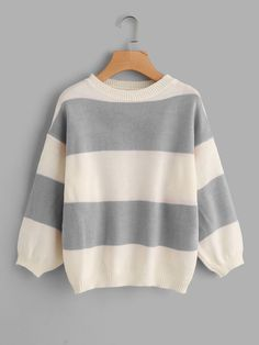 To find out about the Drop Shoulder Wide Striped Sweater at SHEIN, part of our latest Sweaters ready to shop online today! Cool Outfits, Fashion Outfits, Ootd Fashion, Womens Fashion, Wide Stripes, Batwing Sleeve, Long Sleeve, Sweater Outfits, Sweater Weather