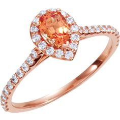 14kt Rose Gold Chatham® Created Padparadscha Sapphire & 3/8 CTW Diamon – Sparkle & Jade