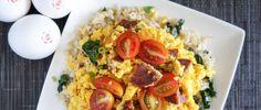 Smoked Chorizo Scrambled Eggs over Garlicky Kale Brown Rice