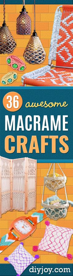 36 Macrame Crafts for the Creative DIYer DIY Joy - Crafts diyjoycrafts DIY Joy Macrame Crafts - DIY Ideas and Easy Macrame Projects for Home Decor, Gifts and Wall Art - Cool Bracelets, Plant Holders, Beautiful Dream Catchers, Things To Make and Sell Crafts To Make And Sell, Diy Crafts For Kids, Kids Diy, Sell Diy, Easy Crafts, Cool Diy Projects, Craft Projects, Diy Niños Manualidades, Beautiful Dream Catchers