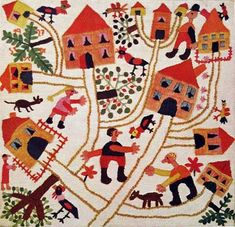 Wool Embroidery from Franz Cizek's Juvenile Art Class. Designed by a 10 year old boy, sewn by a 14 year old girl. From Wilhelm Viola Child Art and Franz Cizek © Austrian Junior Red Cross, Vienna Artists For Kids, Art For Kids, Map Quilt, Contemporary Embroidery, Art Textile, Textiles, Antique Quilts, Crewel Embroidery, Naive Art