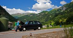Broken down in the Swiss Alps, not sure a Black Taxi was designed for these roads!