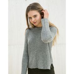 BSK crocheted front jumper - BSK teen - Bershka Israel featuring polyvore women's fashion clothing tops sweaters crochet sweater macrame top jumper tops bershka top bershka