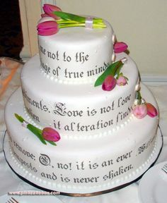 Wedding cake with written inscription » Spring Wedding Cakes