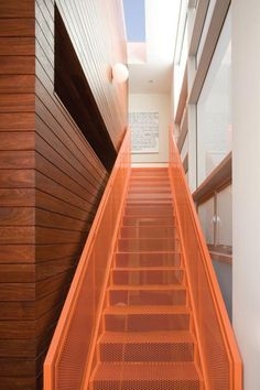 Staircase in the Kuhlhaus 02, an eco house designed by Los Angeles-based architecture firm LeanArch Architects