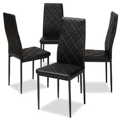 Baxton Studio Blaise Modern and Contemporary Black Faux Leather Upholstered Dining Chair (Set of White Dining Chairs, Contemporary Dining Chairs, Upholstered Dining Chairs, Dining Chair Set, Side Chairs, Dining Room, Chair Upholstery, Black Leather Dining Chairs, Dining Table