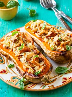 Mushroom and Quinoa Stuffed Squash makes a special side dish, or use 1 cup walnuts to make it a one-dish vegan meal.