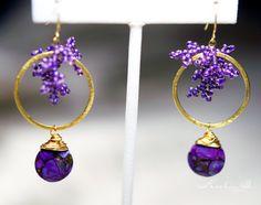 Purple Gold Vermeil Hoop Seed Bead Earrings with by KeelinBJewelry, $45.00